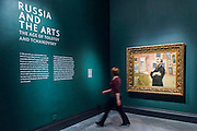 The entrance with Pavel Tretyakov by Ilia Repin, 1898 - Russia and the Arts: The Age of Tolstoy and Tchaikovsky - Part of a cultural exchange with the State Tretyakov Gallery in Moscow, a new exhibition marking the 160th anniversary of both galleries. Works include key figures from the 'golden age of the arts' in Russia, 1867-1914. Runs until June 26. Private view March 14. National Portrait Gallery, St Martin's Place, London.