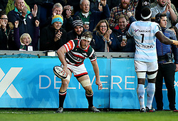 Brendon O'Connor of Leicester Tigers scores a try - Mandatory by-line: Robbie Stephenson/JMP - 23/10/2016 - RUGBY - Welford Road Stadium - Leicester, England - Leicester Tigers v Racing 92 - European Champions Cup