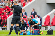 EINDHOVEN - 14-08-2016, PSV - AZ, Philips Stadion, AZ speler Markus Henriksen moet geblesseerd van het veld.