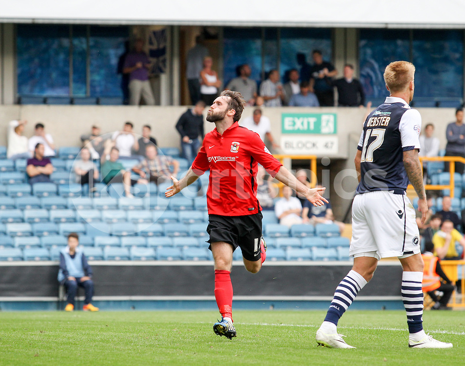 James O'Brien of Coventry City celebrates making it 4-0 during the Sky Bet League 1 match between Millwall and Coventry City at The Den, London, England on 15 August 2015. Photo by Edmund  Boyden.