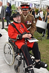 Johnson Beharry VC and Chelsea Pensioner at the RHS Chelsea Flower Show Press Day, Royal Hospital Chelsea, London England. 22 May 2017.<br /> Photo by Dominic O'Neill/SilverHub 0203 174 1069 sales@silverhubmedia.com