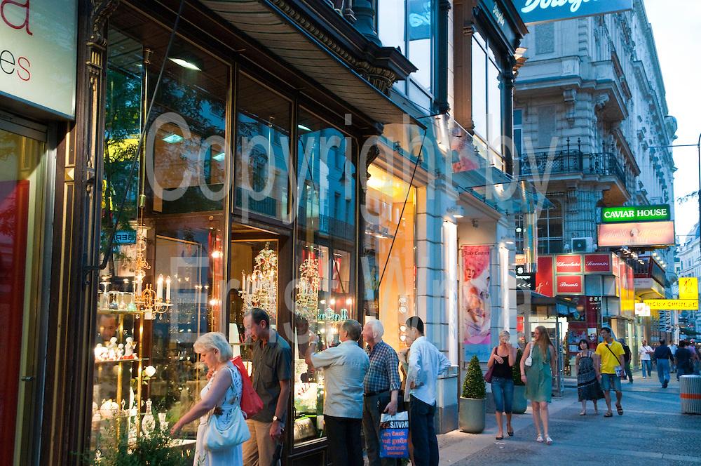 Schaufenster von Traditionsgeschäft Lobmeyr, Einkaufsstraße Kärntner Straße, Wien, Österreich.|.shop window of Lobmeyr, shopping street Kärntner street,  Vienna, Austria