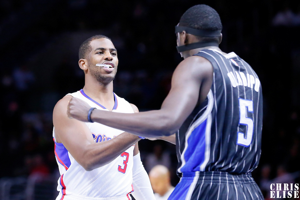 03 December 2014: Los Angeles Clippers guard Chris Paul (3) talks to Orlando Magic guard Victor Oladipo (5) during the Los Angeles Clippers 114-86 victory over the Orlando Magic, at the Staples Center, Los Angeles, California, USA.