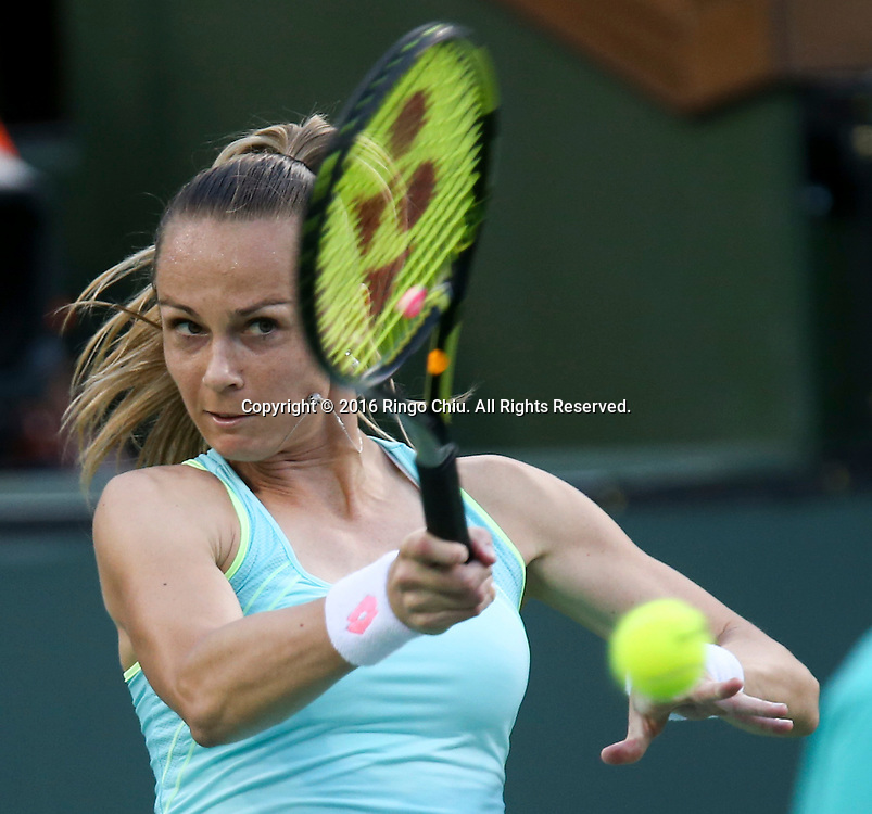 Magdalena Rybarikova of Slovakia in actions against Victoria Azarenka of Belarus during the women singles quaterfinals of the BNP Paribas Open tennis tournament on Thursday, March 17, 2016 in Indian Wells, California. Azarenka won 6-0, 6-0.(Photo by Ringo Chiu/PHOTOFORMULA.com)<br /> <br /> Usage Notes: This content is intended for editorial use only. For other uses, additional clearances may be required.
