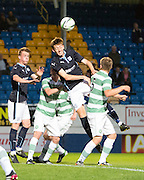 Dundee's Matty Allan wins the ball in the air -  Celtic v Dundee,  SPFL Development League at Cappielow<br /> <br />  - © David Young - www.davidyoungphoto.co.uk - email: davidyoungphoto@gmail.com