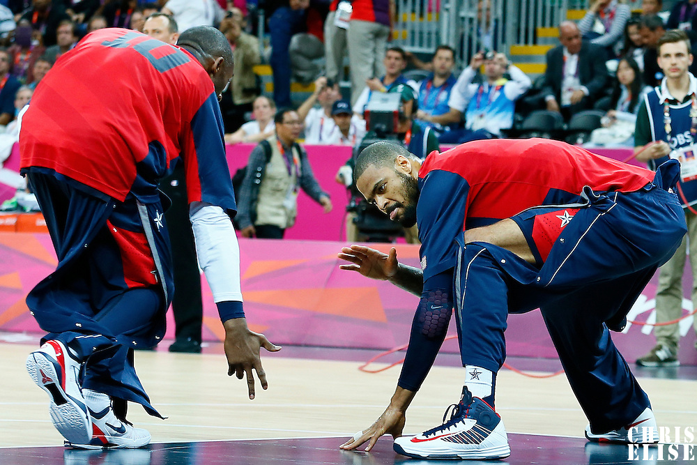 06 August 2012:  USA Kobe Bryant and Tyson Chandler are seen during the players introduction prior to the 126-97 Team USA victory over Team Argentina, during the men's basketball preliminary, at the Basketball Arena, in London, Great Britain.