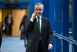 © Licensed to London News Pictures. 03/10/2018. Birmingham, UK. Michael Gove today ahead of Prime Minister Theresa May's speech on the final day of the Conservative Party Conference being held at the International Convention Centre in Birmingham. Photo credit: Andrew McCaren/LNP