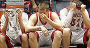 SCOTT MORGAN | ROCKFORD REGISTER STAR.Forreston High School's Jon Watkins (12, from left), Colton Scott (33) and Kody Michael (52) sit on the bench in the final moments of the fourth quarter Tuesday, March 8, 2011, during their game against Newark in the IHSA Class 1A Super Sectional at Northern Illinois University in DeKalb.