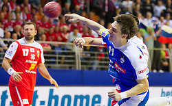 Sebastian Skube of Slovenia during handball match between Iceland and Slovenia in  3rd Round of Preliminary Round of 10th EHF European Handball Championship Serbia 2012, on January 20, 2012 in Millennium Center, Vrsac, Serbia. Slovenia defeated Iceland 34-32. (Photo By Vid Ponikvar / Sportida.com)