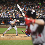 NEW YORK, NEW YORK - July 07: Daniel Murphy #20 of the Washington Nationals batting as Bryce Harper #34 of the Washington Nationals waits on deck during the Washington Nationals Vs New York Mets regular season MLB game at Citi Field on July 07, 2016 in New York City. (Photo by Tim Clayton/Corbis via Getty Images)