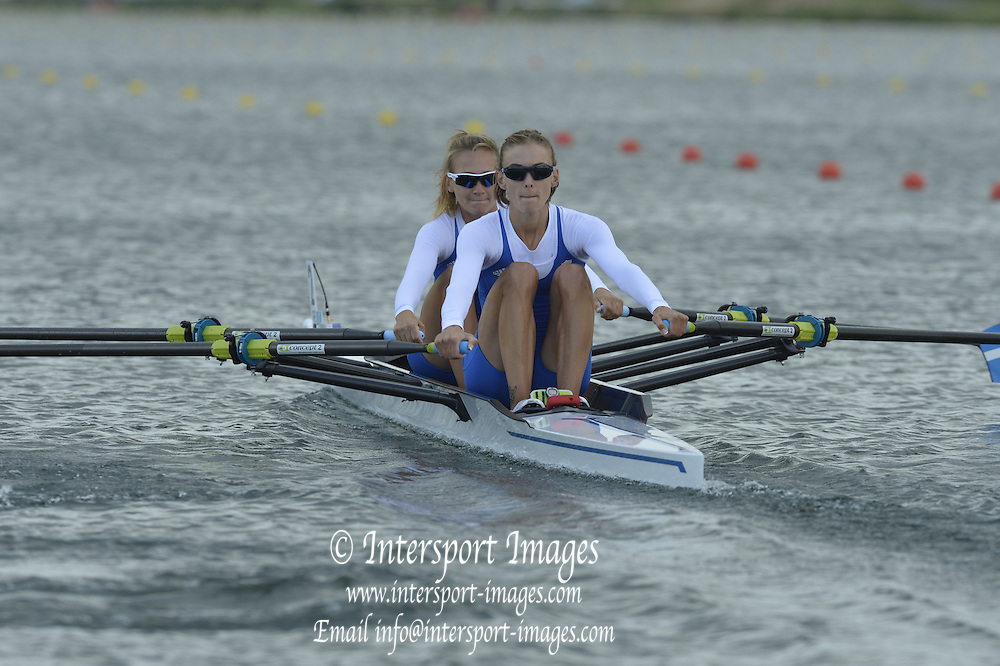 Eton Dorney, Windsor, Great Britain,..2012 London Olympic Regatta, Dorney Lake. Eton Rowing Centre, Berkshire[ Rowing]...Description; GRE LW2X Bow. Christina GIAZITZIDOU and Alexandra TSIAVOU, start their heat of the Lightweight Women's Double Sculls.  Dorney Lake  [Mandatory Credit: Peter Spurrier/Intersport Images]. 29/07/2012
