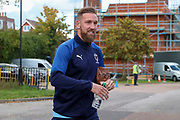 AFC Wimbledon midfielder Scott Wagstaff (7) arriving for the game during the EFL Sky Bet League 1 match between AFC Wimbledon and Portsmouth at the Cherry Red Records Stadium, Kingston, England on 19 October 2019.