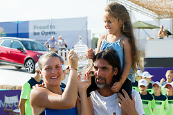 Tatjana Maria (GER) with husband Charles Maria and daughter Charlotte during the victory ceremony after winning the Mallorca Open at Country Club Santa Ponsa on June 24, 2018 in Mallorca, Spain. Photo Credit: Katja Boll/EVENTMEDIA.