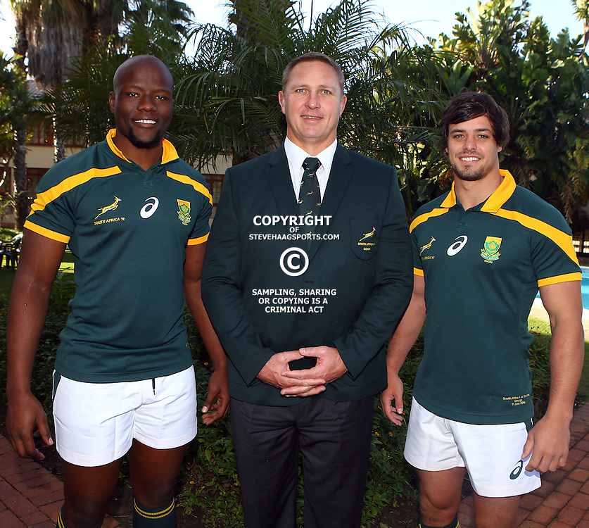 "George, SOUTH AFRICA, 17,June, 2016 -Oupa Mohoje (captain) of South Africa A with Johan Ackermann (Head Coach) of South Africa A and Francois Venter of South Africa A during the South Africa ""A""  Team photograph Wildernes Hotel George,Southern Cape  South Africa (Photo by Steve Haag)"