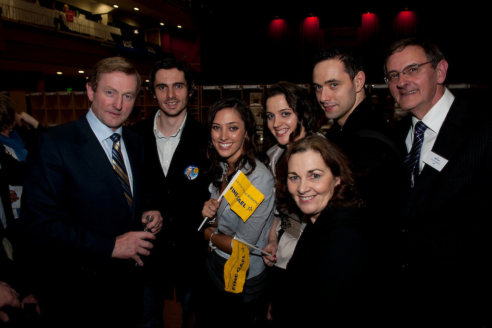 Castlebar Count Centre, Enda Kenny with members of the kenny family at the royal theatre castlebar, Co.Mayo..Pic: Michael Mc Laughlin