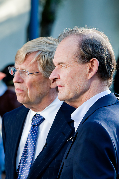 L-R. Ted Olson and David Boies, lawyers of the Plaintiffs against Prop. 8, are seen during a press conference at a rally after Prop. 8 was overturned.