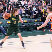 3rd year forward Christina McCusker (12) of the Regina Cougars during the 5th year night on February  11 at Centre for Kinesiology, Health and Sport. Credit: Arthur Ward/Arthur Images