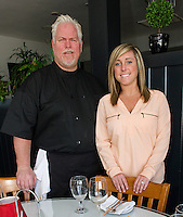 Managers Bob Wilson and Brianna Farley of Faro Italian Grille at Weirs Beach.  (Karen Bobotas/for the Laconia Daily Sun)
