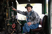 Train Engineer Jeff Stebbins operating locomotive 487 en route to Chama, New Mexico.