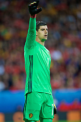 LILLE, FRANCE - Friday, July 1, 2016: Belgium's Thibaut Courtois in action against Wales during the UEFA Euro 2016 Championship Quarter-Final match at the Stade Pierre Mauroy. (Pic by David Rawcliffe/Propaganda)