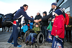 Mark Sorenson of Bristol Rugby greets waiting fans as he arrives at the AJ Bell Stadium - Rogan Thomson/JMP - 01/01/2017 - RUGBY UNION - AJ Bell Stadium - Manchester, England - Sale Sharks v Bristol Rugby - Aviva Premiership New Year's Day Fixture.