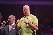 Michael van Gerwen in the Michael van Gerwen v Dave Chisnall match  at the Betway Premier League Darts,  Brighton Centre, Brighton & Hove, United Kingdom on 14 May 2015. Photo by Phil Duncan.