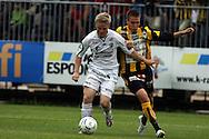 25.07.2007, Tapiolan Urheilupuisto, Espoo, Finland..Veikkausliiga 2007 - Finnish League 2007.FC Honka - FC Haka.Mikko Innanen (Haka) v Tuomo Turunen (Honka).©Juha Tamminen.....ARK:k
