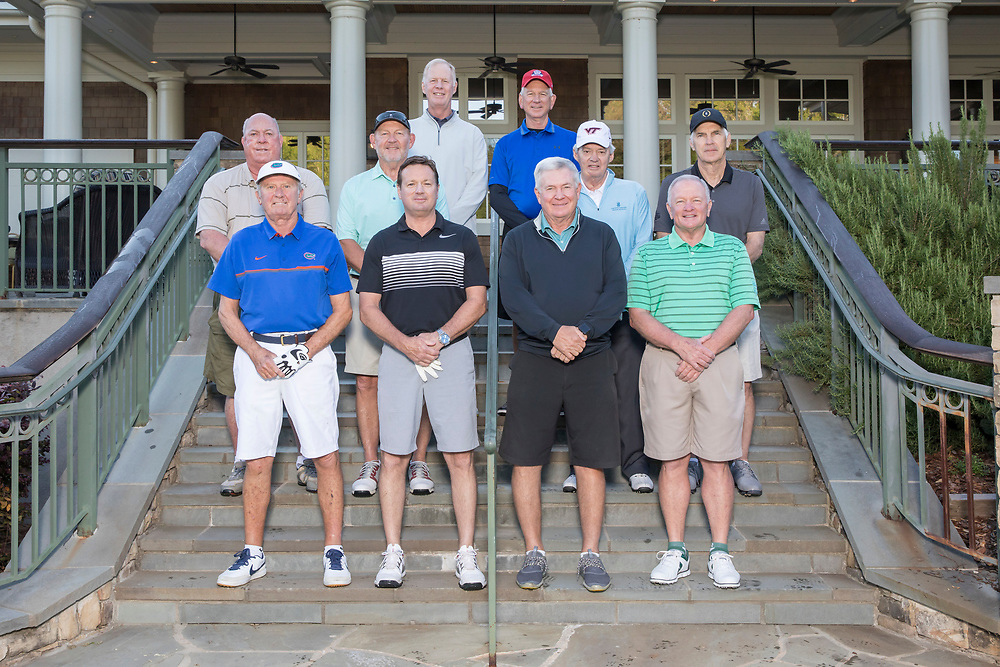 Chick-fil-A Peach Bowl Challenge Legends group photo at the Oconee Course Reynolds Plantation, Wednesday, May 2, 2018, in Greensboro, Georgia. (Paul Abell via Abell Images for Chick-fil-A Peach Bowl Challenge)