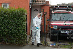 © Licensed to London News Pictures.  15/02/2015. Bristol, UK.  Police and forensics officers conduct a search of the home of missing teenager Rebecca Watts aged 16 who left home in Crown Hill in the St George area of Bristol last Thursday and has not been seen since. Police have carried out extensive searches in the area. Rebecca did not take any spare clothes with her and both her family and the police are very worried for her welfare. Photo credit : Simon Chapman/LNP