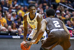 Dec 30, 2018; Morgantown, WV, USA; West Virginia Mountaineers forward Wesley Harris (21) looks to shoot during the second half against the Lehigh Mountain Hawks at WVU Coliseum. Mandatory Credit: Ben Queen-USA TODAY Sports