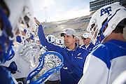SHOT 2/18/17 2:40:43 PM - Air Force head lacrosse coach Eric Seremet huddles up with his his team after losing to Marist College at Falcon Stadium at the Air Force Academy in Colorado Springs, Co. Marist won the game 10-4. Seremet is in his ninth season as the head coach for the Air Force lacrosse program.<br /> (Photo by Marc Piscotty / © 2017)