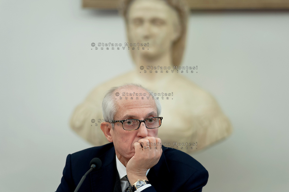 Francesco Paolo Tronca (pictured),Special Commissioner of Rome, presents the data of the patrimony of the Rome municipality. What emerged from the mapping of the real estate assets of the Town Hall, of 574 municipal buildings of the old town, many properties have ridiculously low rentals : 1.81 EUR to live near Termini Station, just over 5 euro to live near Campo de flowers or 32 euro for an apartment overlooking the Colosseum, emerged unpaid rents for 357 million euro. Rome, Italy. 21th Marche 2016.