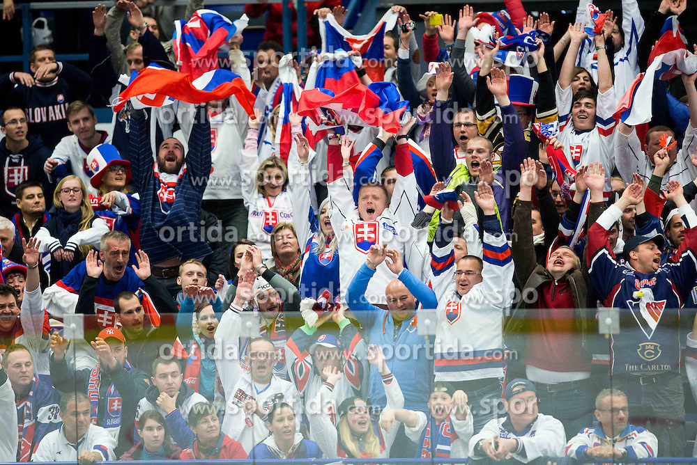 Fans of Slovakia during Ice Hockey match between Slovakia and Denmark at Day 2 in Group B of 2015 IIHF World Championship, on May 2, 2015 in CEZ Arena, Ostrava, Czech Republic. Photo by Vid Ponikvar / Sportida