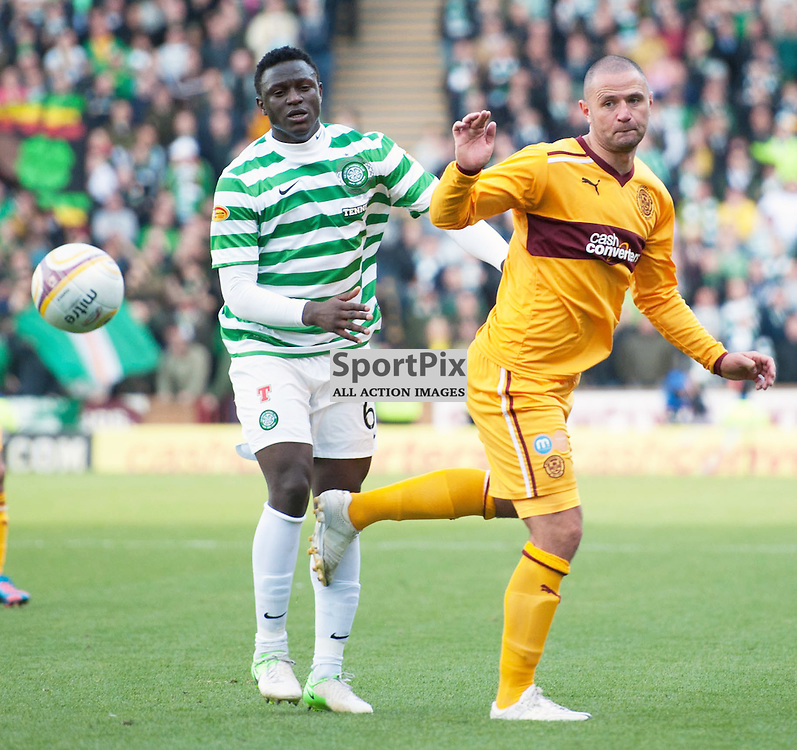 Michael Higdon and Victor Wanyama in action. The Clydesdale Bank Scottish Premier League, Season 2012/13, Motherwell v Celtic, Fir Park, 29 September 2012 Angela Isac | StockPix.eu