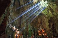 Sunlight hits the Trang Nghiem Tu temple in the Huyen Khong Cave on Nhuyen Son Mountain, Da Nang, Vietnam