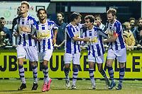 LIENDEN - 21-09-2016, FC Lienden - AZ, Sportpark de Abdijhof, Lienden speler Mohammed Bendadi (2vr) heeft de 1-1 gescoord, Lienden speler Leon Broekhof (r)