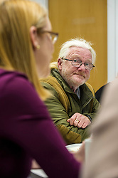 Pictured: David Laird listens carefully to Shirley-Anne Somerville<br /> Today Social Security Secretary Shirley-Anne Somerville visted Prospect Community Housing Association in Wester Hailes, Edurgh, and heard from staff and their clients who are  affected by Universal Credit. <br /> <br /> Ger Harley | EEm 31 October 2018