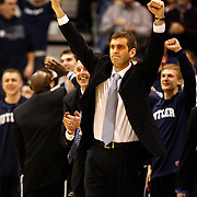 Butler head coach Brad Stevens celebrates as his team defeated Kansas State 63-56 at the NCAA Western Regionals  to decide who will advance to the final four of the NCAA basketball Championship. Photo taken at the EnergySolutions Arena in Salt Lake City, Utah Saturday, March 27, 2010.  August Miller, Deseret News