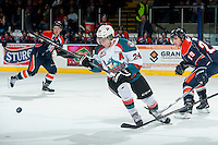 KELOWNA, CANADA - FEBRUARY 6: Tyson Baillie #24 of Kelowna Rockets skates after the puck against the Kamloops Blazers on February 6, 2015 at Prospera Place in Kelowna, British Columbia, Canada.  (Photo by Marissa Baecker/Shoot the Breeze)  *** Local Caption *** Tyson Baillie;