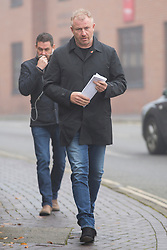 © Licensed to London News Pictures. 28/10/2016. CITY, UK. Steven Brown, 51, arrives at Basingstoke Magistrate's Court today to stands trial after being accused of stalking his wife Nicola Brown and her friend Mark Compton.  Steven Brown allegedly put a secret GPS device tracker on his wife and Mark's car to prove they were having an affair.  Photo credit : Laura Dale/LNP