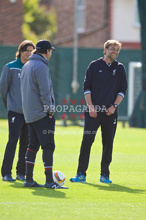 LIVERPOOL, ENGLAND - Wednesday, May 4, 2016: Liverpool's manager Jürgen Klopp during a training session at Melwood Training Ground ahead of the UEFA Europa League Semi-Final 2nd Leg match against Villarreal CF. (Pic by David Rawcliffe/Propaganda)
