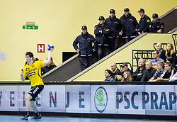 Police during the handball match between RK Gorenje Velenje and SG Flensburg-Handewitt (GER) in 10th Round of EHF Champions League 2013/14 on February 22, 2014 in Rdeca dvorana, Velenje, Slovenia. Photo by Vid Ponikvar / Sportida