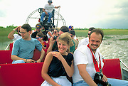 Tourists on airboat  Everglades National Park, Florida