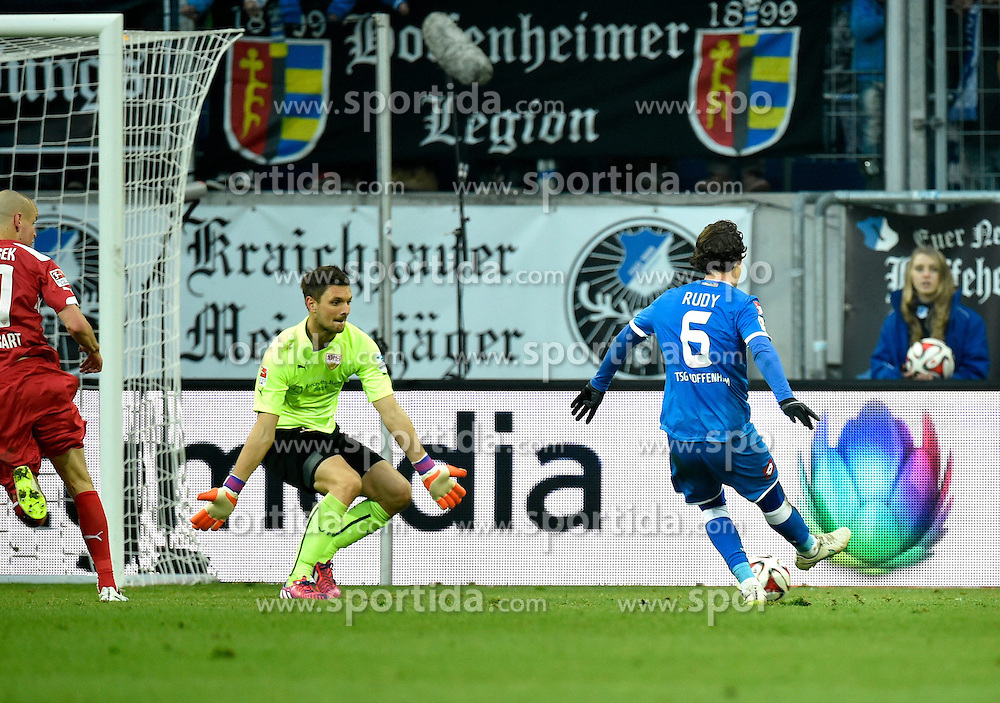 14.02.2015, Rhein Neckar Arena, Sinsheim, GER, 1. FBL, TSG 1899 Hoffenheim vs VfB Stuttgart, 21. Runde, im Bild TIOR zum 2:1 durch Sebastian Rudy TSG 1899 Hoffenheim in der Nachspielzeit gegen Torwart Sven Ulreich VfB Stuttgart // during the German Bundesliga 21th round match between TSG 1899 Hoffenheim and VfB Stuttgart at the Rhein Neckar Arena in Sinsheim, Germany on 2015/02/14. EXPA Pictures &copy; 2015, PhotoCredit: EXPA/ Eibner-Pressefoto/ Weber<br /> <br /> *****ATTENTION - OUT of GER*****