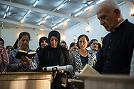 Iraqi Christians worship at the Mart Shmoni church, a Syriac Catholic church in Ankawa, a suburb of Erbil, Iraq. Most of the parisioners are IDPs, pushed out of their homes in Qaraqosh during the 2014 ISIS advance. (May 2, 2017)