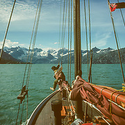The Johns Hopkins Inlet is probably the most spectacular glacial inlet in Glacier Bay, but it was usually so heavily choked with ice that it was virtually impossible to get anywhere near the face of the huge glacier.