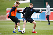 Dele Alli (Tottenham Hotspur) and Eric Dier (Tottenham Hotspur)  during the England training session ahead of the UEFA Euro Qualifier against the Czech Repulbic, at St George's Park National Football Centre, Burton-Upon-Trent, United Kingdom on 19 March 2019.