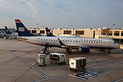 Embraer ERJ 190-100 IGW US Airways jets parked at a gate, Philadelphia International Airport, Pennsylvania, United States of America