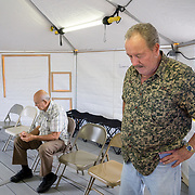 OCTOBER 24 - PONCE, PUERTO RICO - <br /> Retired doctor Miguel Busquets, 71, who was getting a general check up inside a temporary hospital tent set up outside the Ponce VA hospital.<br /> (Photo by Angel Valentin/Freelance)