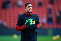 LIVERPOOL, ENGLAND - Saturday, February 24, 2018: Liverpool's Emre Can, wearing a Kick It Out anti-racism t-shirt, during the pre-match warm-up before the FA Premier League match between Liverpool FC and West Ham United FC at Anfield. (Pic by David Rawcliffe/Propaganda)